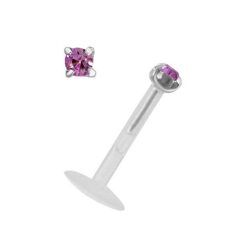 Piercing für Lippe/Tragus Bioplast Silber 925 Kristall