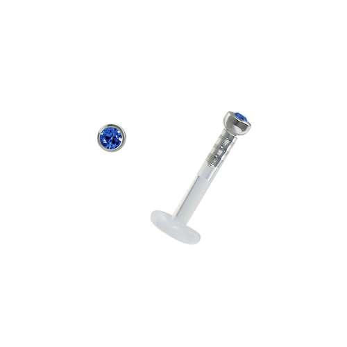 Piercing für Lippe/Tragus Bioplast Chirurgenstahl 316L Swarovski Kristall