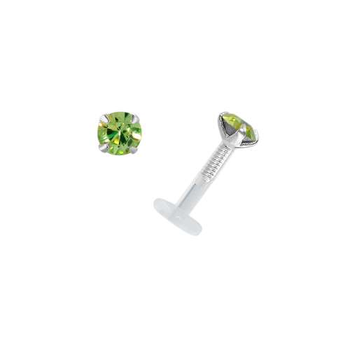 Piercing for lip/Tragus Bioplast Silver 925 Swarovski crystal