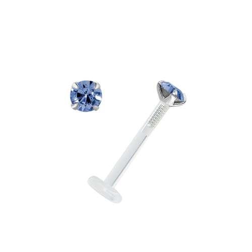 Piercing para el labio/tragus Bioplast Plata 925 cristales de Swarovski