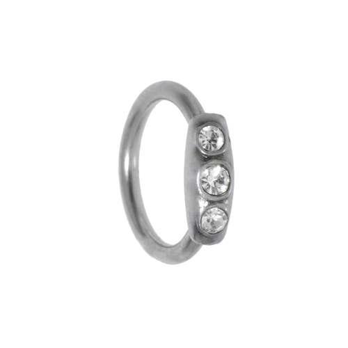 1.2mm Piercingstab Chirurgenstahl 316L Kristall Silber 925
