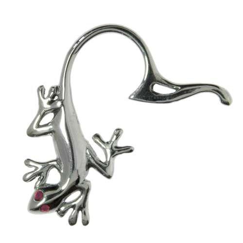 Brustwarzen-Clip Silber 925 Kristall Salamander Gecko Gekko