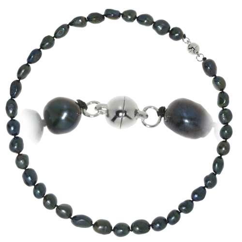 Perlen-Halskette Süsswasserperle Kupfer mit Silberbeschichtung
