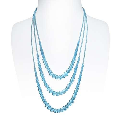 Perlen-Halskette Kristall Kupfer mit Silberbeschichtung