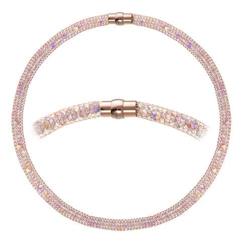 Perlen-Halskette Edelstahl Kristall Gold-Beschichtung (vergoldet)