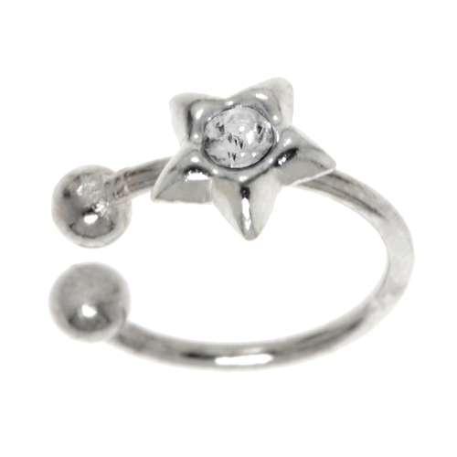 Nasenclip Silber 925 Kristall Stern