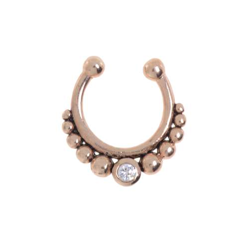 Nose clip Silver 925 Gold-plated Crystal