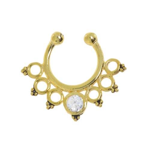 Nasenclip Silber 925 Gold-Beschichtung (vergoldet) Kristall