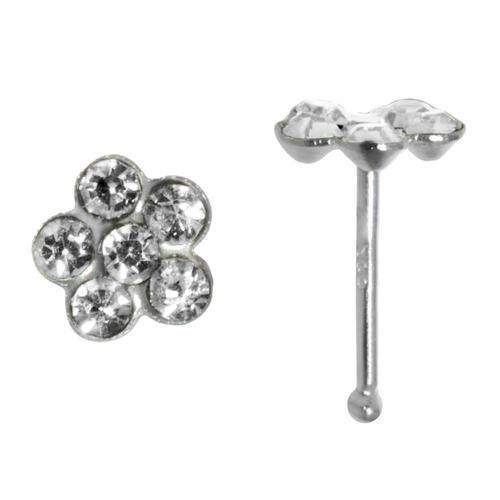 Nasenpiercing Silber 925 Kristall Blume
