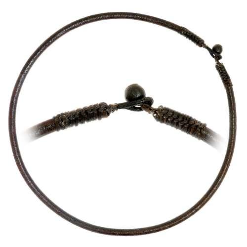 Schlichte Halskette Leder Baumwolle Tamarindenholz