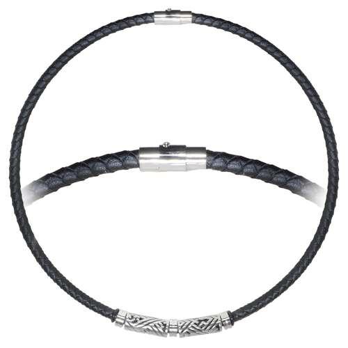 Schlichte Halskette Leder Edelstahl Tribal_Zeichnung Tribal_Muster