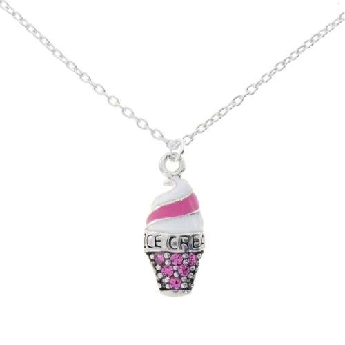 Kinder Halskette Silber 925 Kristall Email