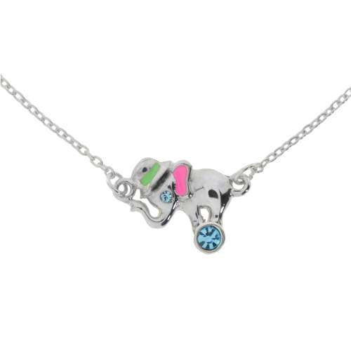 Kinder Halskette Silber 925 Kristall Email Ganesha Elefant