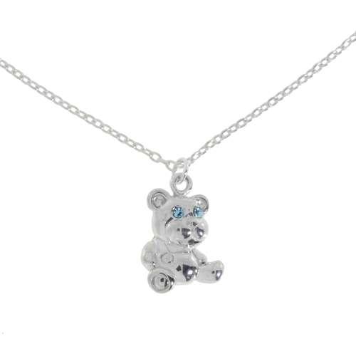 Kinder Halskette Silber 925 Kristall Bär Bärchen Teddy