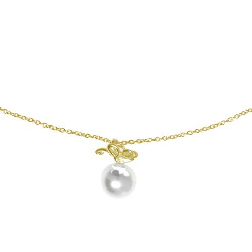 Halsschmuck Silber 925 Gold-Beschichtung (vergoldet) Synthetische Perle Schmetterling Sommervogel