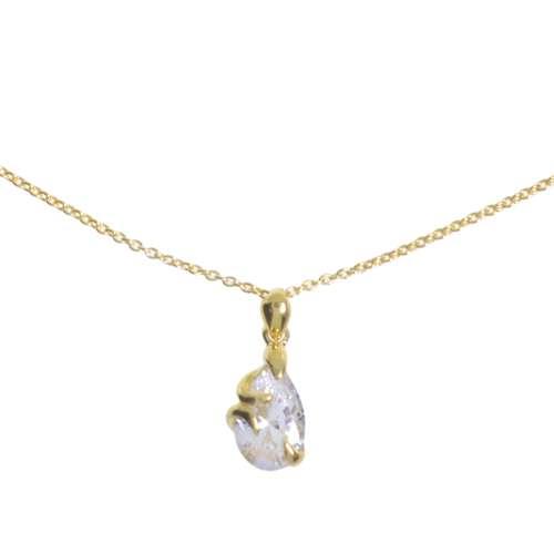 Pendentif de chaîne Argent 925 Revêtement d´or (doré) Cristal Goutte Forme_de_goutte