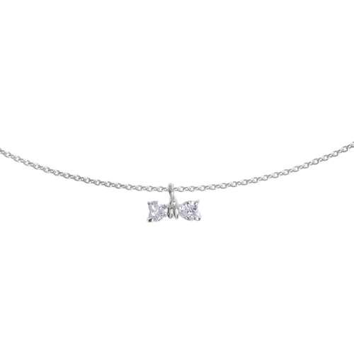 Halsschmuck Silber 925 Kristall Schleife Geschenkband Haarschlaufe