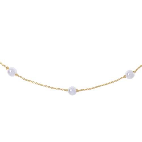 Halsschmuck Silber 925 Gold-Beschichtung (vergoldet) Synthetische Perle