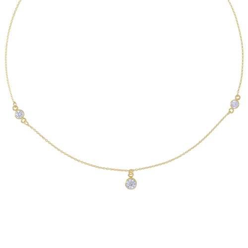 Halsschmuck Silber 925 Gold-Beschichtung (vergoldet) Kristall
