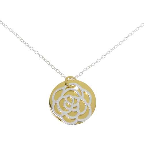 Halsschmuck Silber 925 Gold-Beschichtung (vergoldet) Blume Blatt Pflanzenmuster Florales_Muster