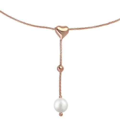 EraOra Halsschmuck Silber 925 Synthetische Perle PVD Beschichtung (goldfarbig) Herz Liebe