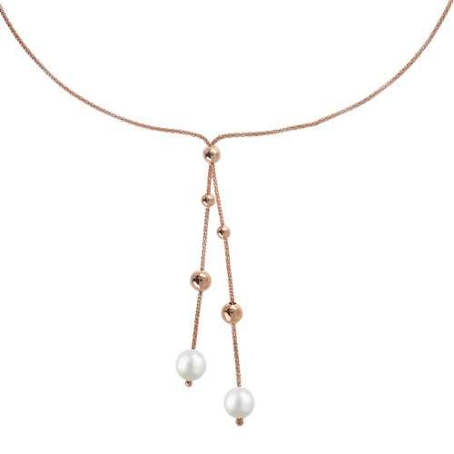 EraOra Halsschmuck Silber 925 Synthetische Perle PVD Beschichtung (goldfarbig)