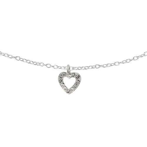 Kinder Halskette Silber 925 Kristall Herz Liebe