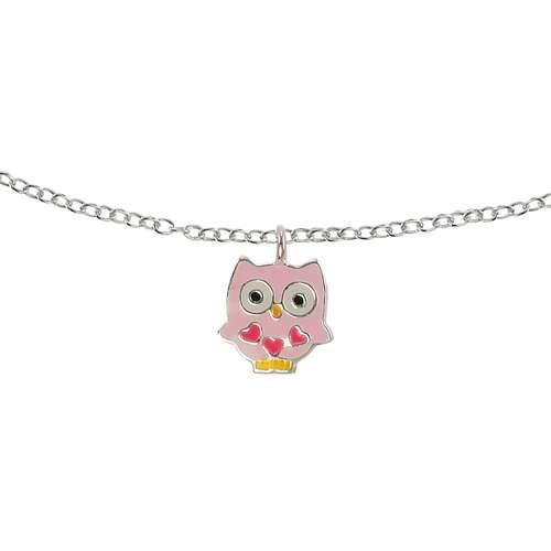 Kinder Halskette Silber 925 Epoxiharz Eule Uhu
