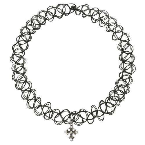 Halsschmuck Silber 925 Zirkonia Kunststoff Kreuz Tribal_Zeichnung Tribal_Muster