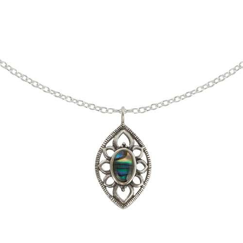 Pendente catena Argento 925 Perla sintetica Resina epossidica Fiore