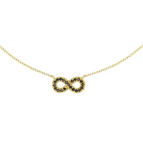 Pendentif de chaîne Argent 925 Revêtement d´or (doré) Zircon Éternel Dragonne Infini