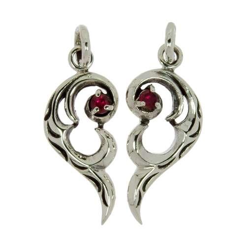 Silber-Anhänger Silber 925 Zirkonia Herz Liebe Tribal_Zeichnung Tribal_Muster
