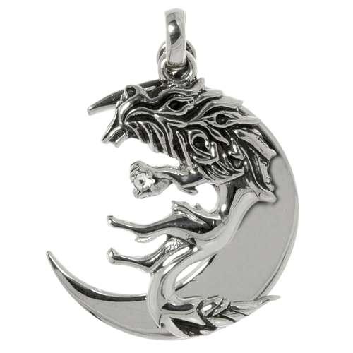Silber-Anhänger Silber 925 Zirkonia Mond Halbmond