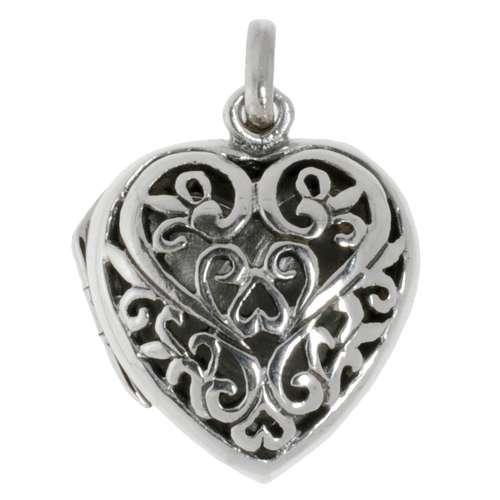 Silber-Anhänger Silber 925 Herz Liebe Tribal_Zeichnung Tribal_Muster Blatt Pflanzenmuster Florales_Muster