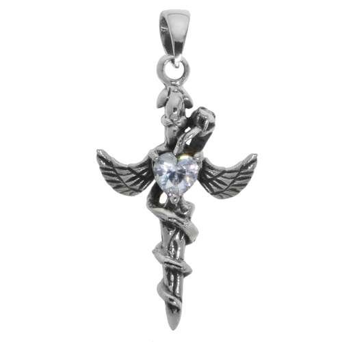 Silber-Anhänger Silber 925 Zirkonia Kreuz Flügel Schlange Herz Liebe
