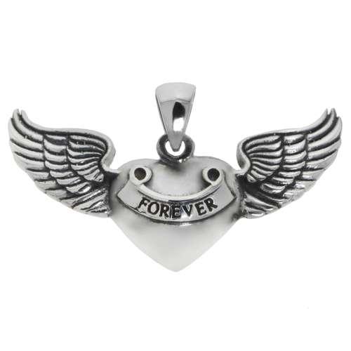 Silber-Anhänger Silber 925 Herz Liebe Ewig Schlaufe Endlos Love Liebe Flügel
