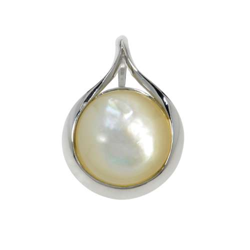 Muschel-Anhänger Silber 925 rhodiniertes Silber 925 Perlmutter Tropfen Tropfenform Wassertropfen