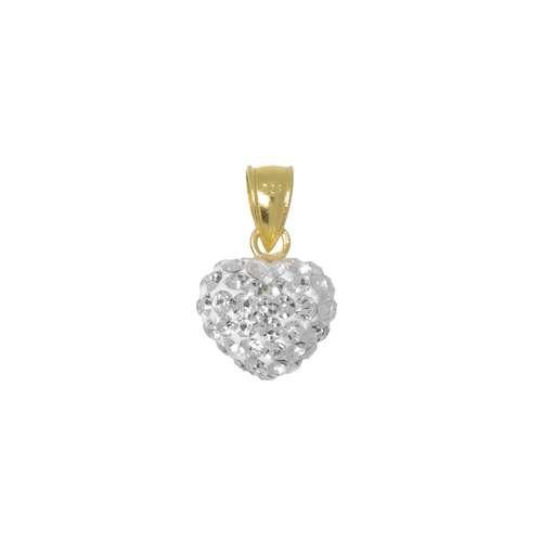 Silber-Anhänger Silber 925 Kristall Gold-Beschichtung (vergoldet) Herz Liebe