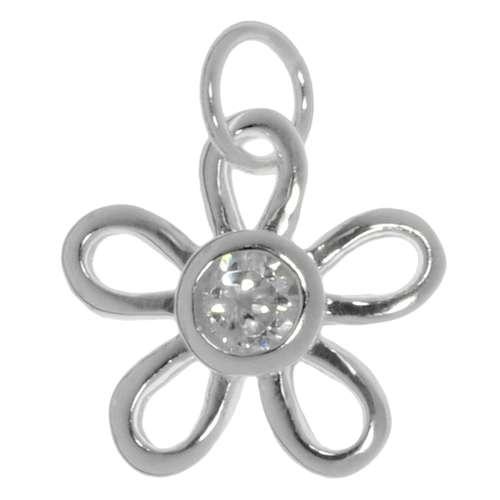Kinder Halskette Silber 925 Kristall Blume