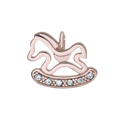 Silber-Anhänger Silber 925 Kristall PVD Beschichtung (goldfarbig) Pferd Hengst Fohlen