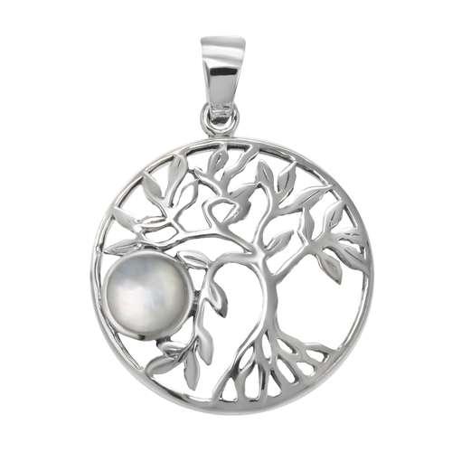 Muschel-Anhänger Silber 925 Perlmutter Blatt Pflanzenmuster Florales_Muster