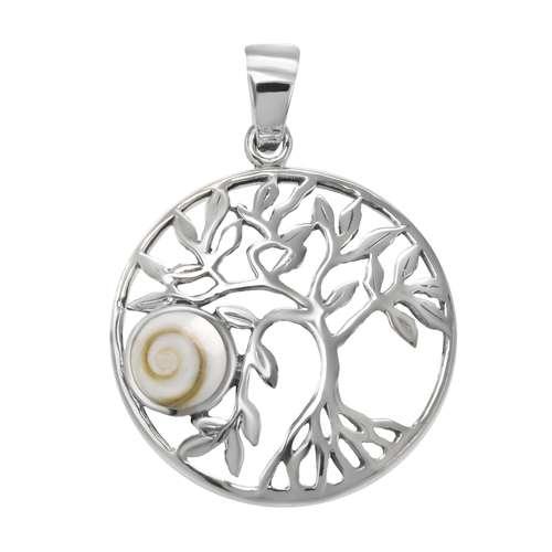 Muschel-Anhänger Silber 925 Shiva´s Eye Muschel Blatt Pflanzenmuster Florales_Muster Spirale