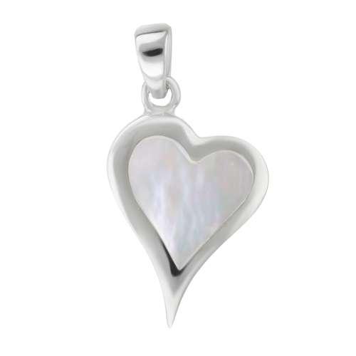 Muschel-Anhänger Silber 925 Perlmutter Herz Liebe