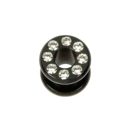 Plug Chirurgenstahl 316L PVD Beschichtung (schwarz) Swarovski Kristall
