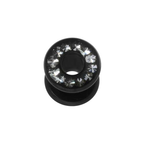 Plug Chirurgenstahl 316L PVD Beschichtung (schwarz) Swarovski Kristall Epoxiharz