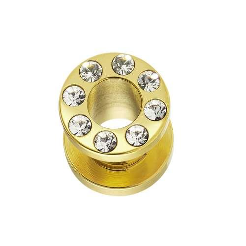 Tunnel Chirurgenstahl 316L Swarovski Kristall Gold-Beschichtung (vergoldet)