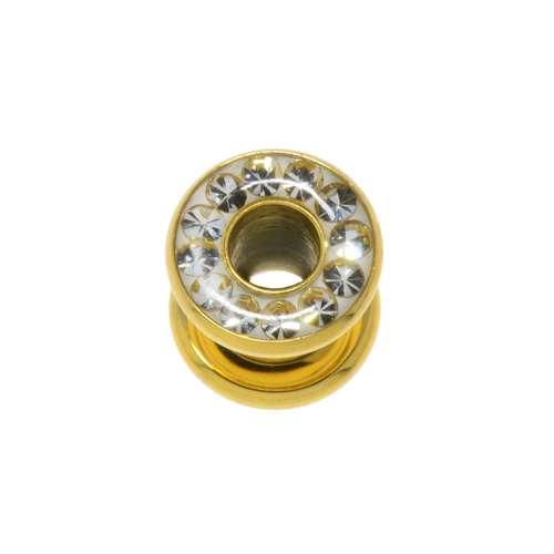Tunnel Chirurgenstahl 316L Gold-Beschichtung (vergoldet) Swarovski Kristall Epoxiharz