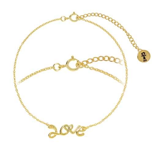 Silber-Armkettchen Silber 925 Gold-Beschichtung (vergoldet) Love Liebe
