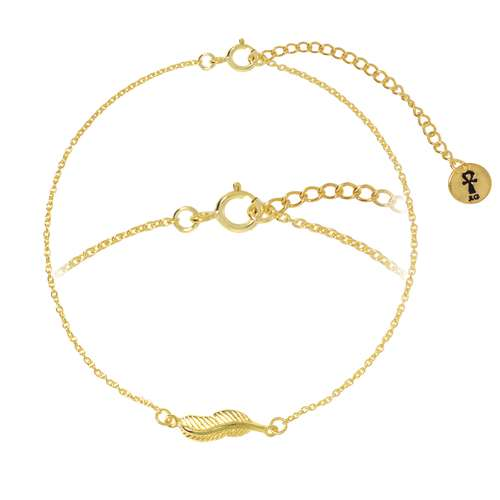 Silber-Armkettchen Silber 925 Gold-Beschichtung (vergoldet) Feder