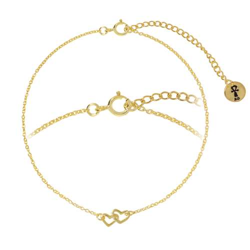 Silber-Armkettchen Silber 925 Gold-Beschichtung (vergoldet) Herz Liebe
